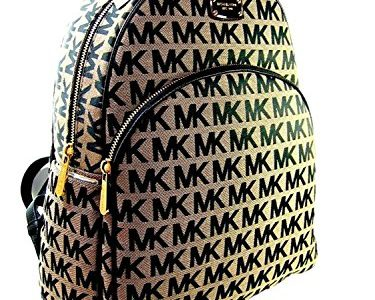 New Michael Kors MK Logo Signature Backpack Book Bag Abbey Black Beige Review