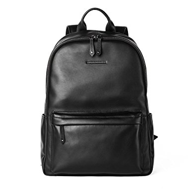 Sharkborough Men's Backpack Genuine Leather Travel Bag Extra Capacity Casual Daypacks