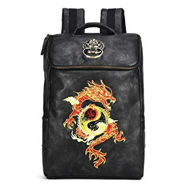 Chusan Chinese Embroidery PU Leather Backpacks Hipsters Casual Outdoor Daypack Black