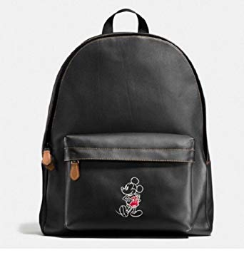 COACH CHARLES BACKPACK IN GLOVE CALF LEATHER WITH MICKEY F59018, BLACK