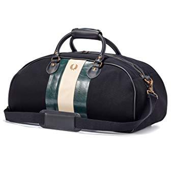 Fred Perry Bradley Wiggins Canvas Grip Bag, Black, Racing Green and Ecru