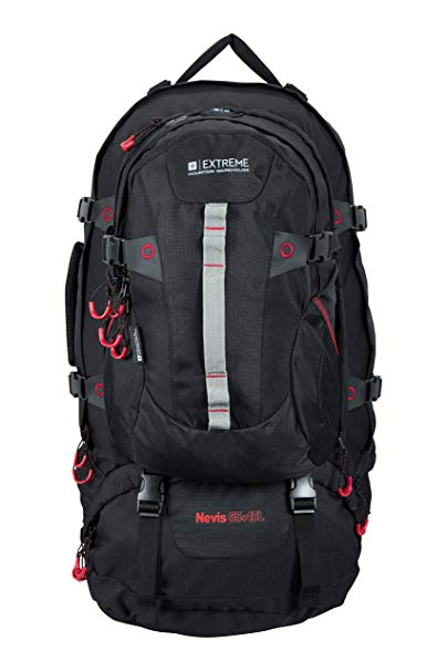 Mountain Warehouse Nevis Extreme 65L + 15L Litre Waterproof Rucksack Bag