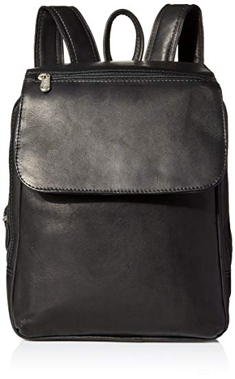 Piel Leather Flap-Over Tablet Backpack, Black, One Size